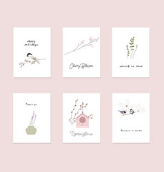 Cute spring postcards with hand drawn springtime vector