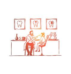 dentist visit little girl sitting on chair vector image
