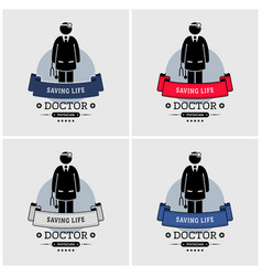 Doctor logo design artwork of medical specialist vector