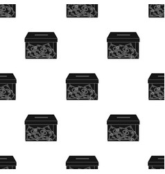 Donation moneybox icon in black style isolated on vector