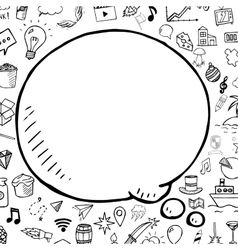 Doodle speech bubble with objects hand vector