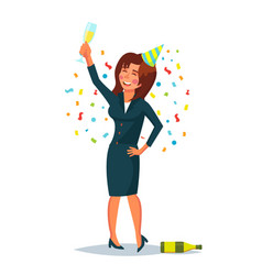 Drunk business woman corporate party vector