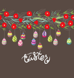 easter eggs hanging on the florals vector image