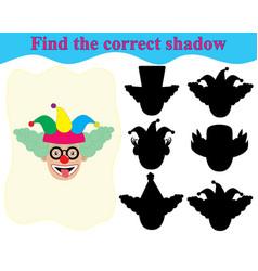 Find correct shadow clowns face vector