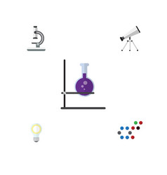 Flat icon study set of lightbulb scope glass and vector