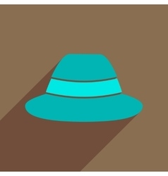 Flat icon with long shadow hat hipster vector