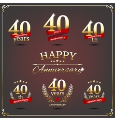 Forty years anniversary signs collection vector image