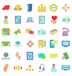 Free support icons set cartoon style vector