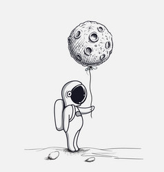 Funny astronaut keeps abstract balloon like a moon vector