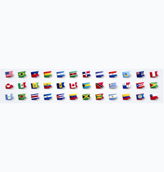 giant flag set south and north america vector image