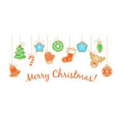 gingerbread christmas cookies ganging on strings vector image