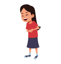 Girl laughing hard and touching her stomach vector