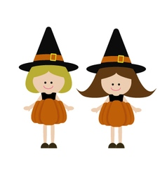 Girls with pumpkin costume vector