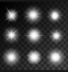 glowing shining stars set vector image
