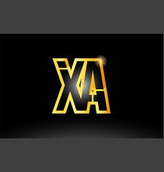 Gold black alphabet letter xa x a logo vector