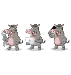 Gray Wild Pig Mascot with laptop vector image