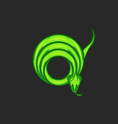 green mamba snake logo twisted rings shape vector image