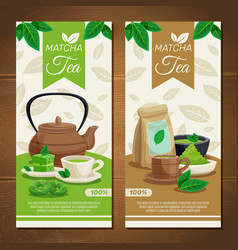 green matcha tea vertical banners vector image