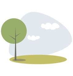 Green tree on hill at blue sky spring day vector
