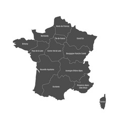 Grey map of france divided into 13 administrative vector