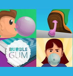 Gum banner set cartoon style vector