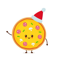 happy smiling funny cute pizza vector image
