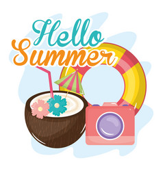 hellow summer poster with holiday icons vector image