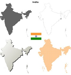 India outline map set vector