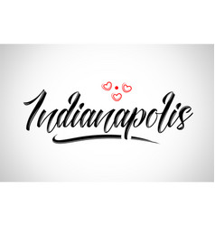 Indianapolis city design typography with red vector