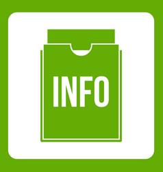 info folder icon green vector image