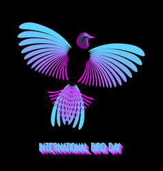 international bird day rainbow bird vector image