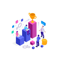 Isometric team success and teamwork flat design vector