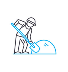 land work thin line stroke icon land work vector image