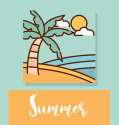 landscape summer tropical beach palm sea cartoon vector image