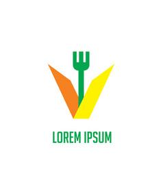 Letter v fork restaurant logo vector