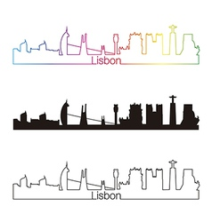 Lisbon skyline linear style with rainbow vector