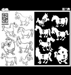 Matching shapes game with horses coloring book vector