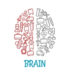Medical sketch icons shaped as human brain symbol vector image