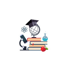 microscope globe and graduation cap on a stack of vector image