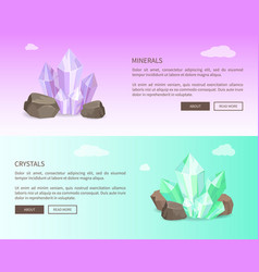 minerals and crystals web set vector image