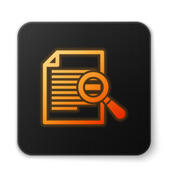 Orange glowing document with search icon isolated vector