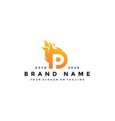 P letter logo fire design vector