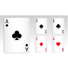 Play poker card ace with a transparent background vector