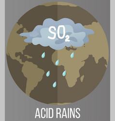 Save planet concept acid rains pollute land vector