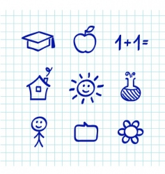 school doodle icons blue vector image