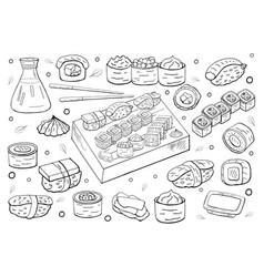 set hand drawn sushi set on white background vector image
