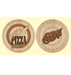 set of boards for pizza with inscriptions vector image