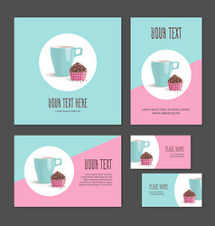 set of corporate branding cake and cup in packing vector image