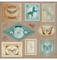 Set Vintage Post Stamps vector