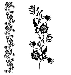 Silhouette flower black vector